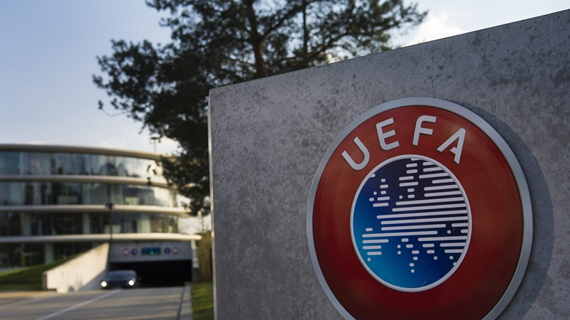 epa05246659 The UEFA logo is pictured next to the entrance of the UEFA Headquarters, in Nyon, Switzerland, 06 April 2016. Swiss federal police raided UEFA offices in Nyon in relation to TV contract details leaked in the Panama Papers. Leaked documents published on 03 April 2016 suggest that 140 politicians and officials from around the globe, including 72 former and current world leaders, have connections with secret 'offshore' companies to escape tax scrutiny in their countries.  EPA/JEAN-CHRISTOPHE BOTT
