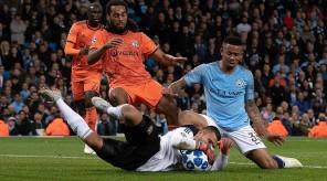 Sept 19th 2018 - Manchester, UK - MAN CITY V LYON -  Man City Jesus against  Lyon Lopes  PIcture by Ian Hodgson/Daily Mail